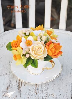 """Купить Композиция в чашке """"Солнечный чай"""" - желтый, оранжевый, цветы в чашке, композиция в чашке"""