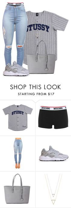 """""""Stussy """" by shayluhhh ❤ liked on Polyvore featuring Stussy, Moschino, Michael Kors, women's clothing, women, female, woman, misses and juniors"""