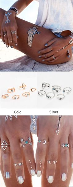 Fashion Silver Joint Knuckle Nail Midi Ring Personality Set of 6 Rings for big sale ! #ring #fashion #silver #cute #jewelry