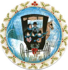 """""""Noel Noel"""" by P Buckley Moss. Porcelain Ornament. Issued 1991. Diameter: 3-5/16 ins.  Rare: $175. #canadagoosgallery #waynesvilleohio #pbuckleymoss #pbuckleymossart #pbuckleymosscollectibles #gifts #giftitems #porcelainornaments #porcelainchristmasornaments #christmasornaments #limitededitionornaments #christmascaroling #winter #snow #horseandbuggy"""