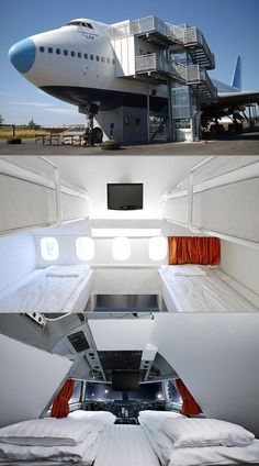 """Inside the """"Jumbo Hostel"""" in Sweden, which is made from a real Boeing 747-200 jetliner."""