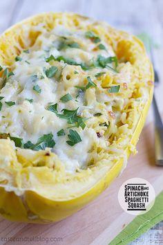 Spinach & Artichoke Spaghetti Squash Bake,  Taste and Tell Blog