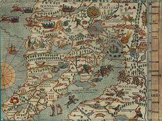 f Olaus Magnus Map of Scandinavia 1539. Древние карты мира в высоком разрешении - Старинные карты