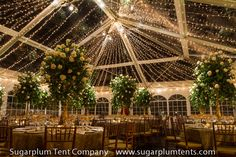 Starlight effect lighting in the ceiling of this clear-top tent--simple and yet elegant!