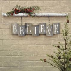 """BELIEVE Barn Board Bricks with Spindle Wall Sign Spindle has an antique white crackled paint finish Weathered and worn """"bricks"""" of reclaimed wood White stencilled letters x x Two clips on the back of the spindle make this item easy to hang Christmas Wood Crafts, Noel Christmas, Christmas Projects, All Things Christmas, Winter Christmas, Holiday Crafts, Christmas Ornaments, Holiday Decor, Country Christmas"""