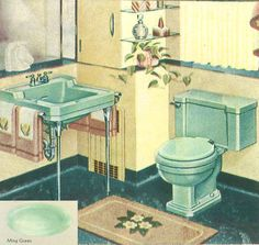 The color green in kitchen and bathroom sinks, tubs and toilets - from 1928 to 1962 - Retro Renovation Vintage Bathroom Mirrors, Retro Bathrooms, Diy Bathroom Decor, Small Bathroom, Bathroom Ideas, 1950s Bathroom, Colorful Bathroom, Budget Bathroom, Green Kitchen