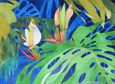MONSTERA is an original watercolor painted by Hawaii artist Karin Novak-Neal. The artist has many of these gigantic monstera in her yard. They produce a magical plastic looking flower and an edible fruit. These plants are one of her favorites to paint because of the light and dark qualities. Check out her other paintings now listed on Etsy.  This painting has been done on a 22 x 30 piece of 300#, ph balanced, Arches French cotton watercolor paper with deckled edges. The entire painting was…