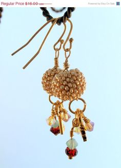 ON SALE Gold Handmade Beaded Bead with Crystals by GlassTortoise, $11.20