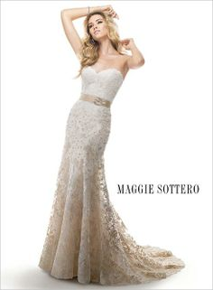 Chic styling for the fashion forward bride is found in the ombre lace #weddingdress, Britannia, by #maggiesottero.