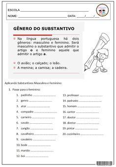 Gênero do Substantivo 3º ANO BIA, 4º E 5º ANO, GRAMÁTICA, LÍNGUA PORTUGUESA, REVISÃO GRAMATICAL
