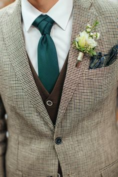 Мужской свадебный костюм, мужской коричневый костюм, зеленый галстук