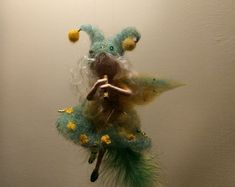 """Needle felted fairy Waldorf inspired Wool Autumn fairy musician """"Magical flute"""" Home décor Mobile Gift Elf Art doll Doll miniature"""