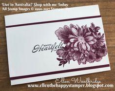 Ellen Woodbridge Independent Stampin' Up!® Demonstrator - Central Coast NSW Australia: Heartfelt Blooms Sympathy Card - Shop NOW www.ellenwoodbridge.stampinup.net #stampinup #heartfeltblooms # stampapartus