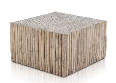 Couchtisch Aus Teak Astwerk Massivholz Natur Quadratisch 21251