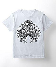 Another great find on #zulily! White Geometric Flower Short-Sleeve Tee - Kids #zulilyfinds