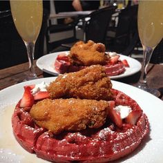 Red Velvet Waffle with Fried Chicken