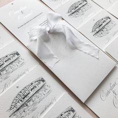 Emboss, silk ribbon, venue illustration, white wedding, wedding invitation, elegant invitation Elegant Invitations, Custom Wedding Invitations, Wedding Stationary, Pocket Invitation, Invitation Envelopes, Black Envelopes, Upcoming Events, Silk Ribbon, Emboss