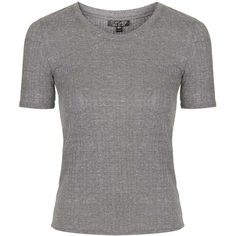 TOPSHOP Ribbed Tee ($25) ❤ liked on Polyvore featuring tops, t-shirts, grey marl, gray t shirt, slim fit t shirts, topshop tops, slim fit tees and grey t shirt