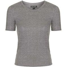 TOPSHOP Ribbed Tee (33 CAD) ❤ liked on Polyvore featuring tops, t-shirts, grey marl, grey tee, slim fit t shirts, rib tee, ribbed tee and gray top