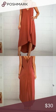 Washed red high-low dress Slinky stretch knit with twin spaghetti straps. Triangle bodice, high low hem Lush Dresses High Low