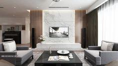 Thiết kế nội thất phòng khách căn hộ Penthouse