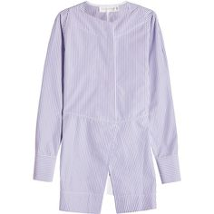Victoria Beckham Open Back Cotton Shirt (57.730 RUB) ❤ liked on Polyvore featuring tops, purple, open-back shirts, cotton shirts, purple button shirt, stripe shirt and purple top