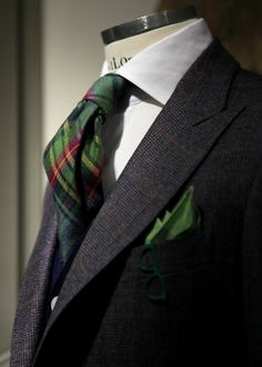 "Monday Suit: green, grey, burgundy and blue"",the peak lapel is the different touch."