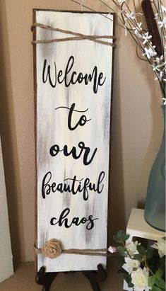 Beautiful Chaos Sign is part of Diy wood signs - Welcome to our Beautiful Chaos sign Rustic charm with the added twine and burlap flower Hand painted and sealed with polyurethane tall and 8 wide Burlap flower might vary Diy Home Decor Rustic, Rustic Farmhouse Decor, Rustic Charm, Rustic Crafts, Diy Home Decor Easy, Farmhouse Front, Coastal Farmhouse, French Farmhouse, Diy Home Crafts