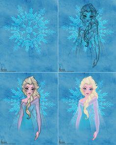 Elsa Frozen Disney Sketches | Disney's FROZEN - Queen Elsa Colour Sketch WIP by davidkawena
