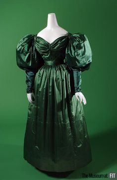 Afternoon dress ca. 1830  From the Museum at FIT -- I love the rich color and the pleating on the bodice!