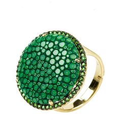 Latelita London - Stingray Circle Ring Emerald Green (£145) ❤ liked on Polyvore featuring jewelry, rings, leather ring, hand crafted jewelry, adjustable rings, sparkle jewelry y star jewelry