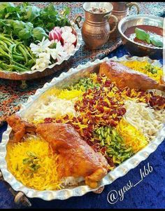 """the Persian food; Persian Barberry Rice and Juicy Chicken, Once you eat, Do not end up tasting it"" Iranian Dishes, Iranian Cuisine, Afghan Food Recipes, Iran Food, Tomate Mozzarella, Turkish Recipes, Indian Recipes, Dinner Entrees, Food Decoration"