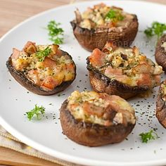 Baked Portobello Mushrooms Recipe - stuffed with chopped ham and cheese
