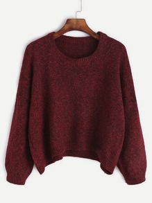 Burgundy Dropped Shoulder Seam Dip Hem Sweater
