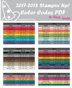 2017-2018 Stampin' Up! color codes in RGB and HEX values. PDF Format for easy copying and pasting.