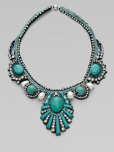 Turquoise statement necklace by Ranjana Khan #jewelry #necklace #turquoise