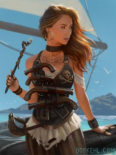 Bob Kehl is a freelance Illustrator working out of south Florida. He generally sticks to the fantasy genres but strays from time to time. I love the ocean, pirates, dwarves and most things epic and awesome. Fantasy Character Design, Character Inspiration, Character Art, Fantasy Inspiration, Character Concept, Pirate Art, Pirate Woman, Pirate Life, Lady Pirate