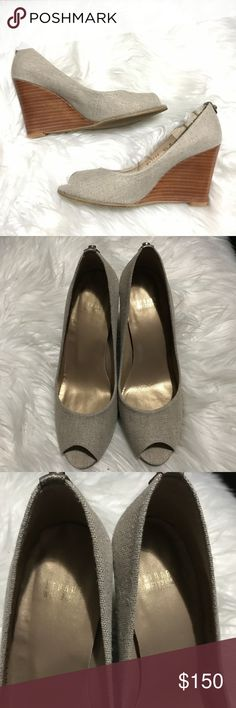 "Stuart Weitzman Ellie Peep Toe Wedges- NWOB In excellent condition! Never worn- just tried on. Some marks on soles from trying on. Around a 4"" Wedge. Sold out online!   Reasonable offers welcome ❤️ Shoes Wedges"