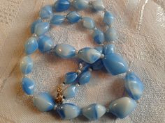 Vintage 50s Blue Murano, Givre Glass Bead Necklace. by GothiqueGirl on Etsy