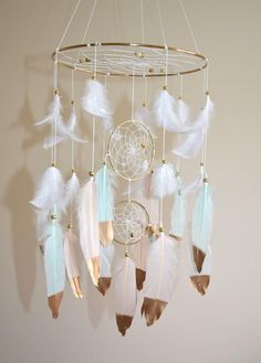 Early mobiles did not necessarily move, as do most crib mobiles today. The modern crib mobile is… Dream Catcher Nursery, Dream Catcher Mobile, Small Dream Catcher, Rose Nursery, Baby Nursery Decor, Girl Nursery, Blush Nursery, Woodland Nursery, Nursery Mobiles