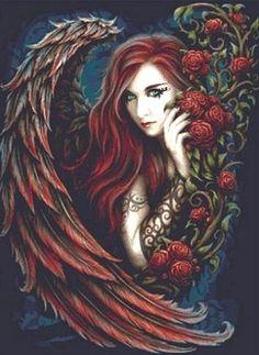 Daemon Rosa She Black Dragon (Large) Cross Stitch Kit - Linda Jones