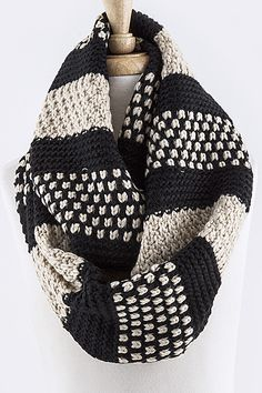 Multi Pattern Knit Infinity Scarf