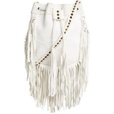 Cleobella Cheyenne Fringe (€165) ❤ liked on Polyvore featuring bags, handbags, shoulder bags, purses, accessories, bolsas, white, white leather handbags, leather bucket bag and white shoulder handbags