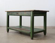 vintage work table / rustic painted wood table