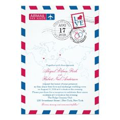 World Locations USA and Germany Airmail   Wedding Card
