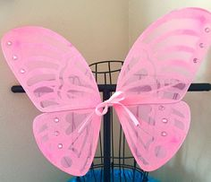 CHOOSE YOUR CENTER! Pink Bow Butterfly Fairy Wings Bow Ribbon Costume Princess Pixie Bug Insect Toddler Girls Rhinestones Glitter Halloween