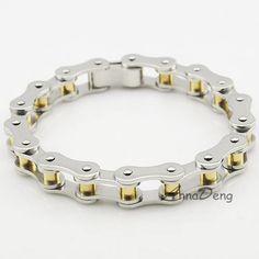 Men Stainless Steel Bracelet, 2015 trendy jewellery, Biker bike Chain bracelet bycicle, silver/gold, silver/black,  AB098A