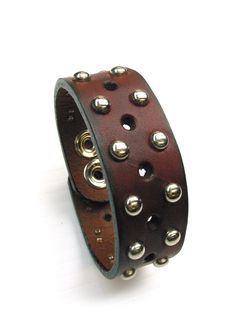 Narrow Leather Cuff Studded Oxblood by JMBCanada on Etsy $26