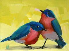 """""""bluebirds no. 3"""" - Original Fine Art for Sale - © Angela Moulton"""