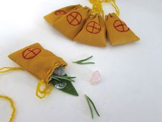 Midsummer Charm Bags with Solar Cross.